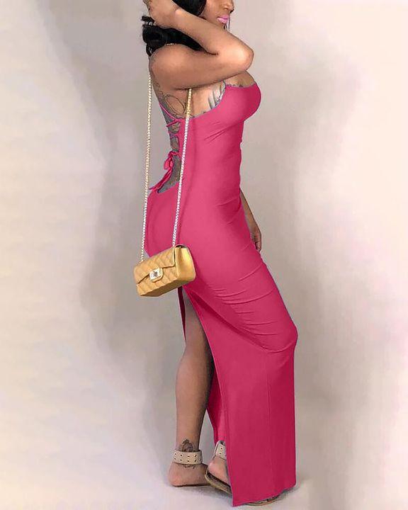 Split Thigh Criss Cross Lace Up Maxi Dress gallery 16