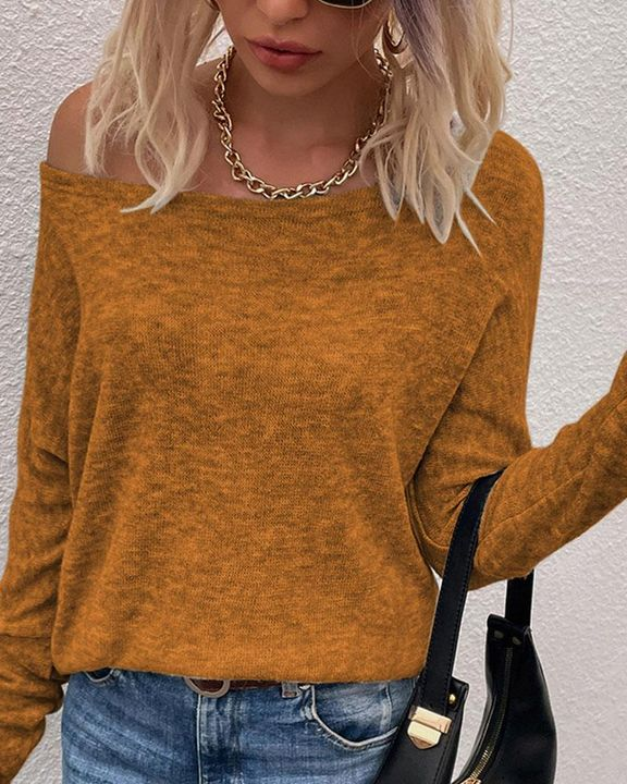 Solid Long Sleeve Boat Neck Top gallery 4