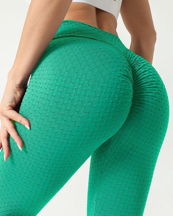 Solid Textured Scrunch Butt Absorbs Sweat Hip Lift Sports Leggings gallery 3