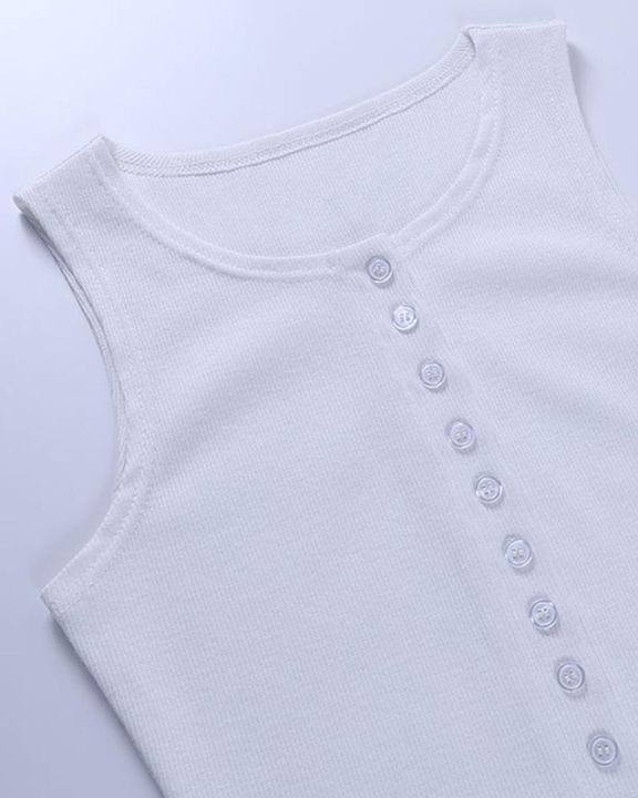 Solid Rib-Knit Button Front Skinny Bodysuit gallery 6