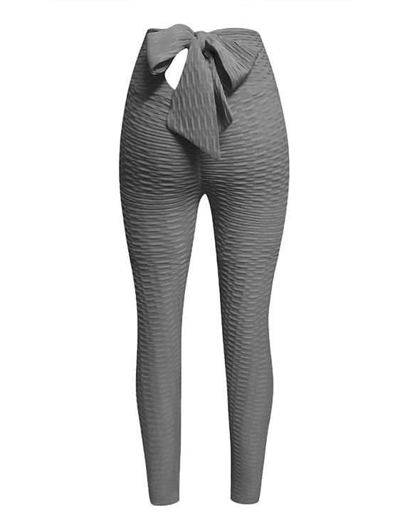 Solid Textured Bow Back Cut Out Leggings gallery 5