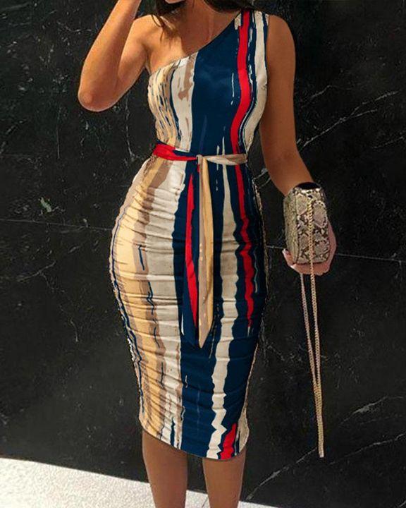 Tie Dye Belted One Shoulder Midi Dress gallery 1