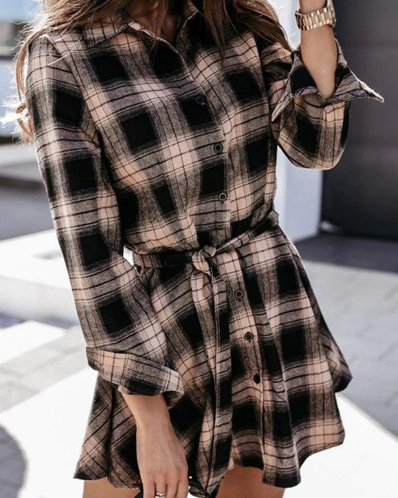 Plaid Print Button Up Self-Tie Mini Shirt Dress gallery 2