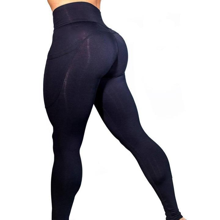 Solid Side Pocket Butt-Lifting Sports Leggings gallery 2