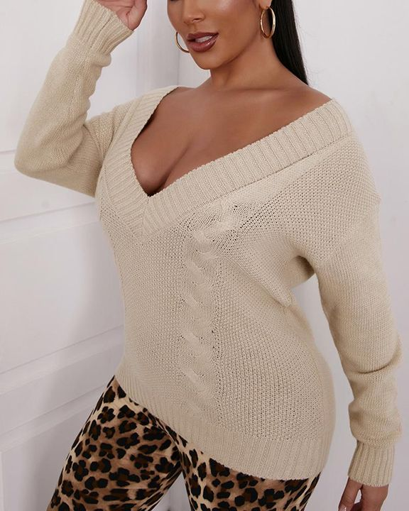 Cable Knit V Neck Drop Shoulder Sweater gallery 2