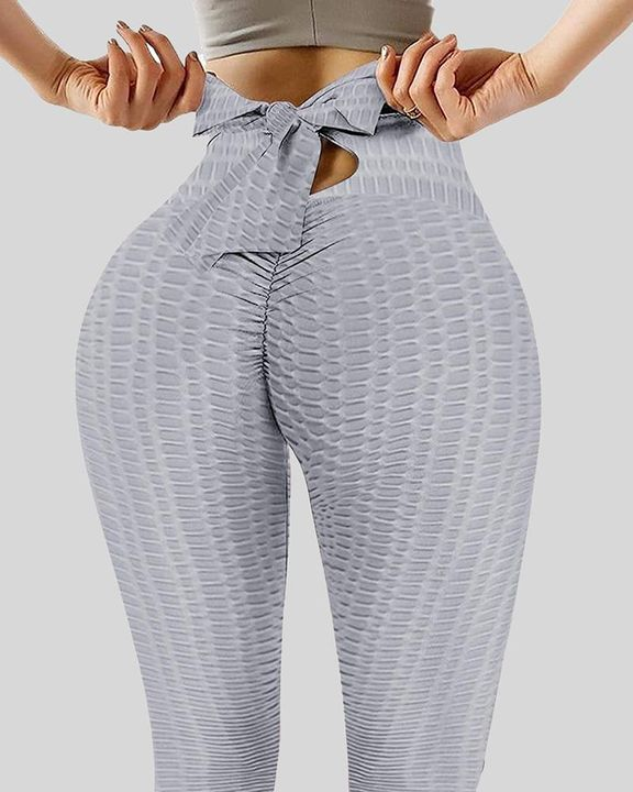 Solid Textured Bow Back Cut Out Leggings gallery 4