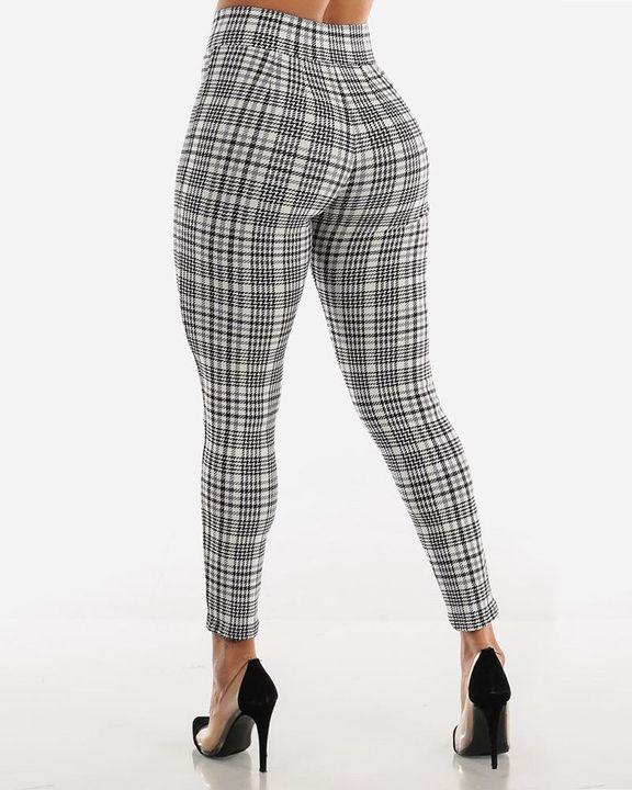 Plaid Print Wrap Waist Skinny Pants gallery 15