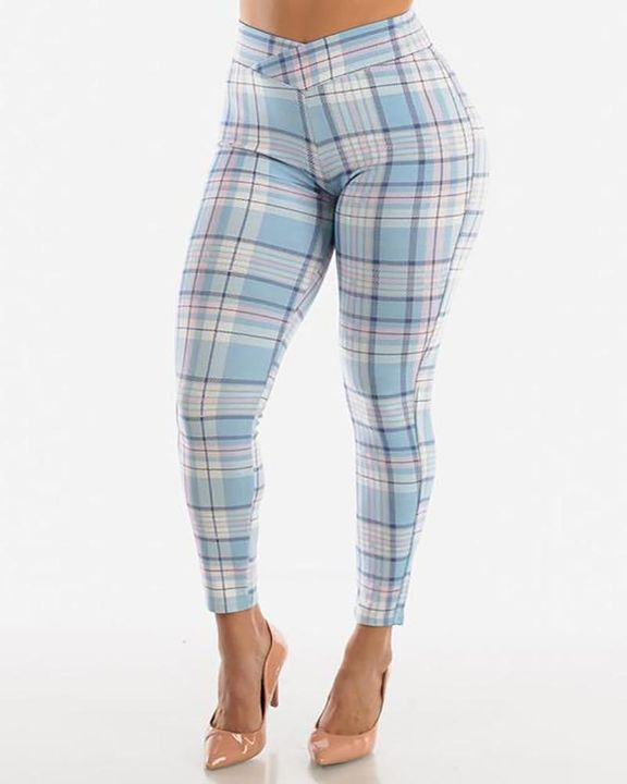 Plaid Print Wrap Waist Skinny Pants gallery 1