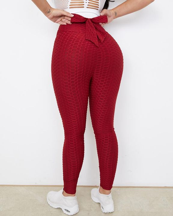 Bow Tie Back Textured Ruched Sports Leggings gallery 1