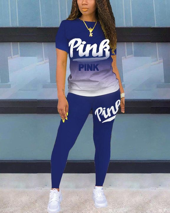Letter Print Ombre Round Neck Top & Pants Set gallery 12