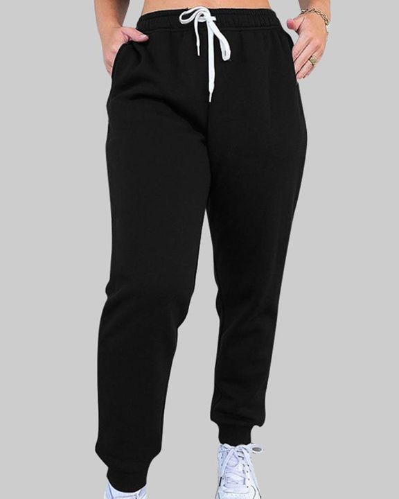 Drawstring Waist Thermal Lined High Waist Joggers gallery 2