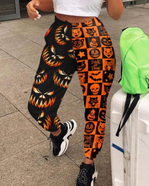 Colorblock & Halloween Graphic Pattern Pocket Side Joggers gallery 5
