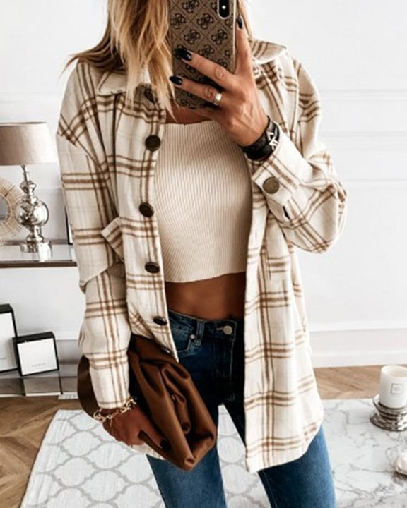 Plaid Print Patch Pocket Button Up Jacket gallery 2