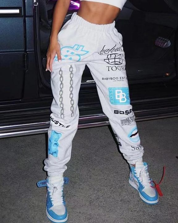 Letter & Graphic Print Dual Pocket Sports Pants gallery 2