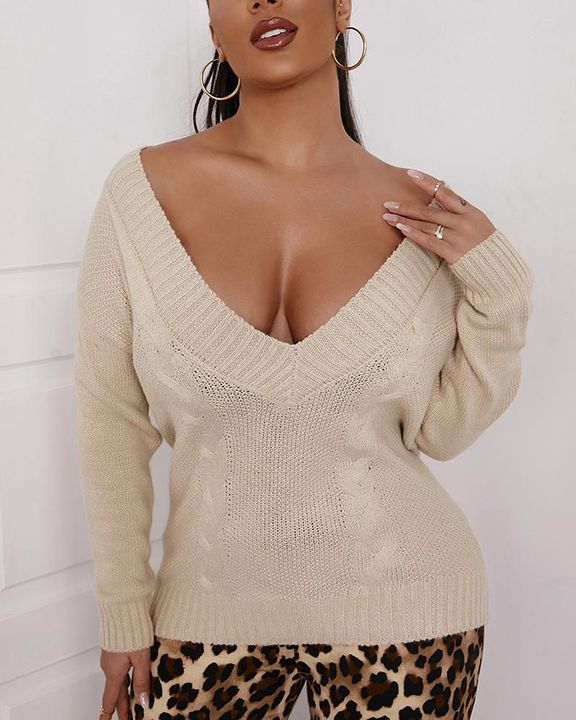 Cable Knit V Neck Drop Shoulder Sweater gallery 3