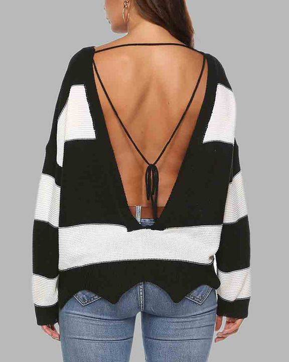 Colorblock Cutout Tie Back Fringe Trim Sweater gallery 1