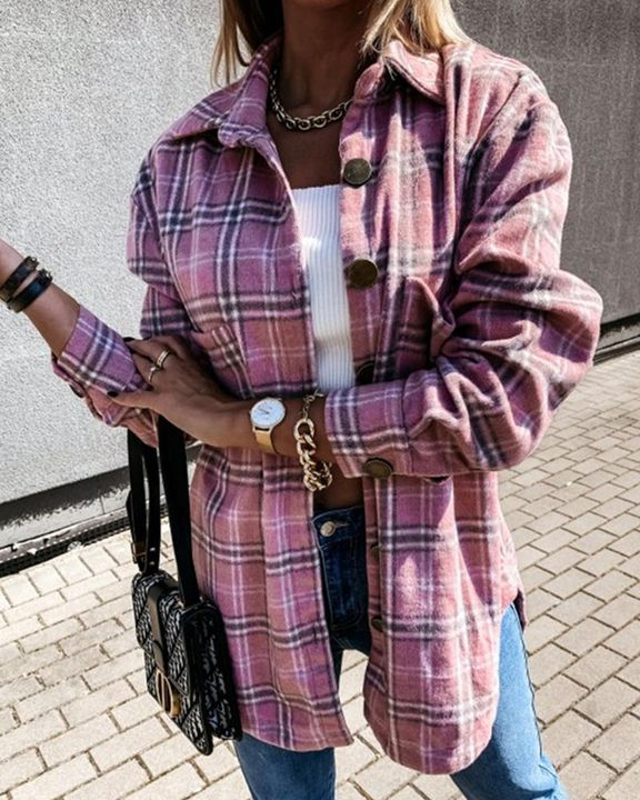 Plaid Print Patch Pocket Button Up Jacket gallery 11