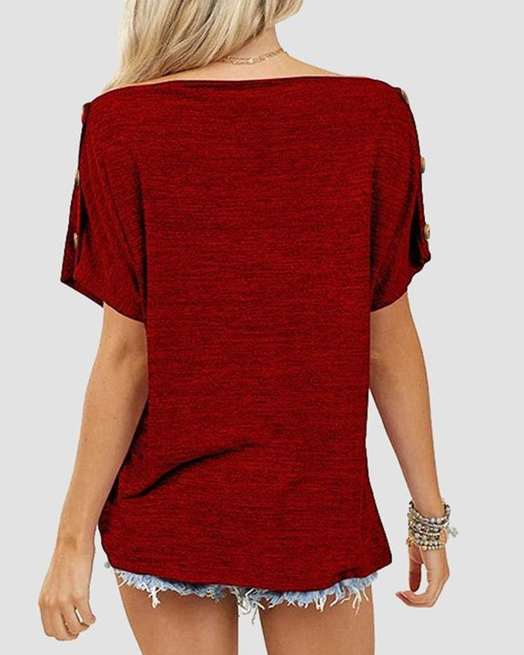 Solid Button Side Off Shoulder Top gallery 4