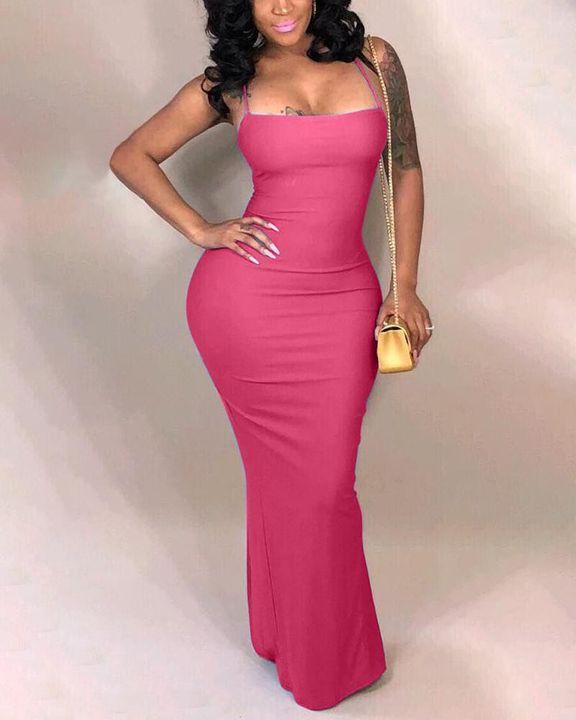 Split Thigh Criss Cross Lace Up Maxi Dress gallery 5