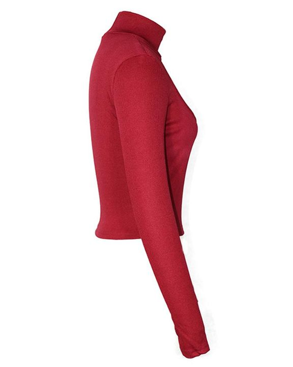 High Neck Cut Out Front Bodycon Sweater gallery 5