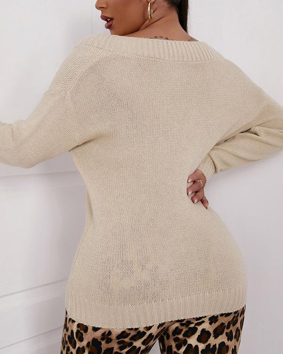 Cable Knit V Neck Drop Shoulder Sweater gallery 4