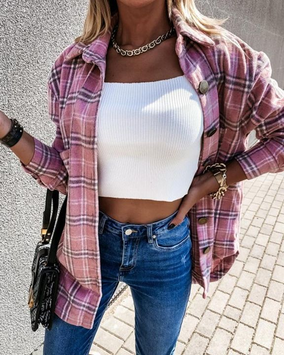 Plaid Print Patch Pocket Button Up Jacket gallery 3
