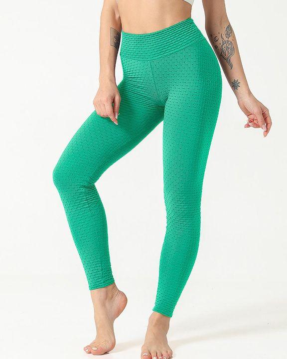Solid Textured Scrunch Butt Absorbs Sweat Hip Lift Sports Leggings gallery 11