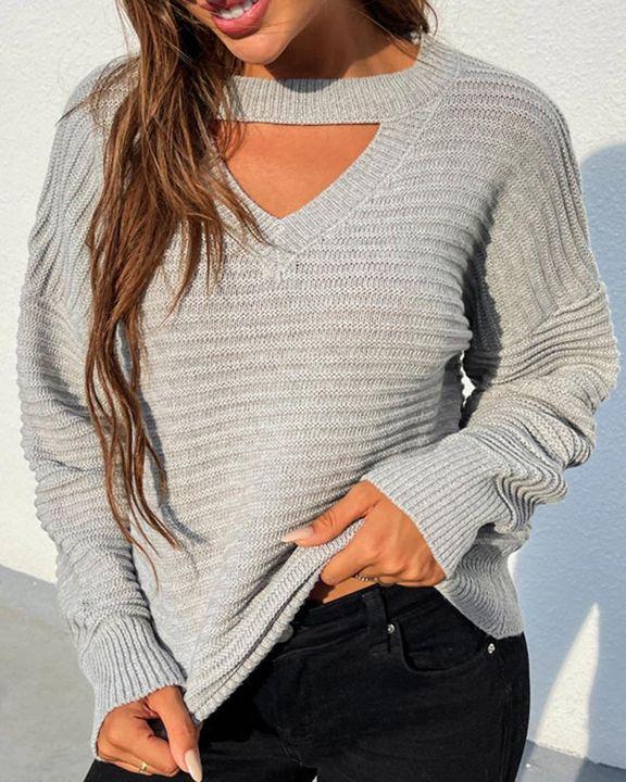 Keyhole Neck Drop Bishop Sleeve Sweater gallery 3