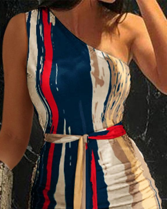 Tie Dye Belted One Shoulder Midi Dress gallery 2
