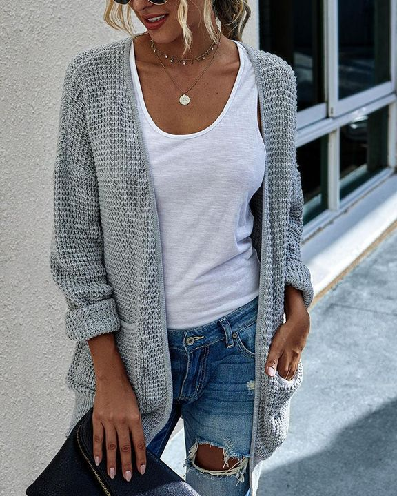 Solid Waffle Dual Pocket Front Cardigan gallery 4