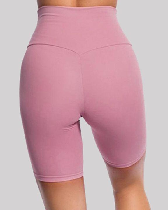 Solid High Waist Butt Lifting Sports Shorts gallery 16