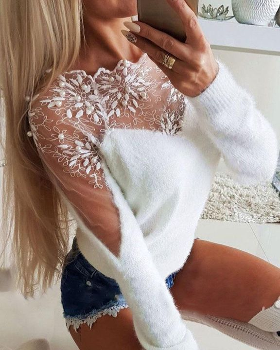 Floral Lace Beaded Decor Frill Trim Sweater gallery 1