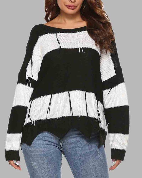 Colorblock Cutout Tie Back Fringe Trim Sweater gallery 2