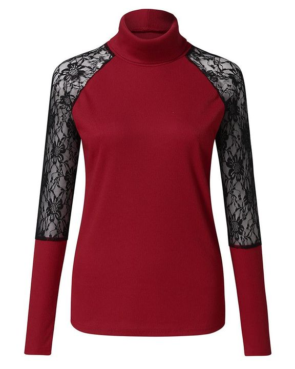 Solid Floral Lace Rib-Knit High Neck Sweater gallery 7