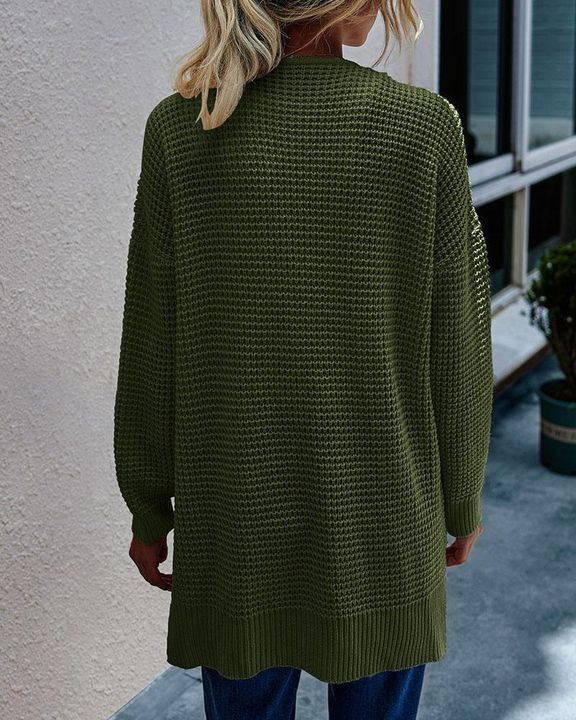 Solid Waffle Dual Pocket Front Cardigan gallery 6