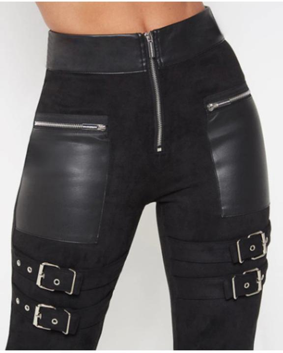 PU Patchwork Half Zip Buckle Decor High Waist Skinny Pants gallery 4