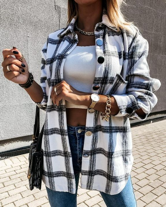 Plaid Print Patch Pocket Button Up Jacket gallery 1