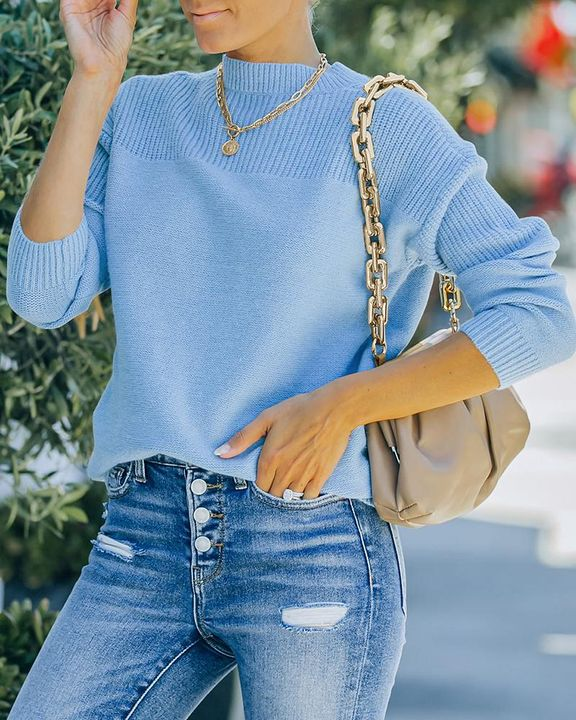 Solid Rib-Knit Round Neck Sweater gallery 1