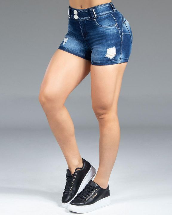 Button Front Ripped Denim Shorts gallery 3