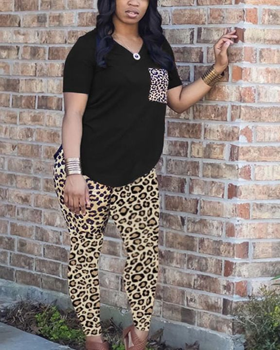 Leopard Print Patch Pocket Tee & Skinny Pants Set gallery 4