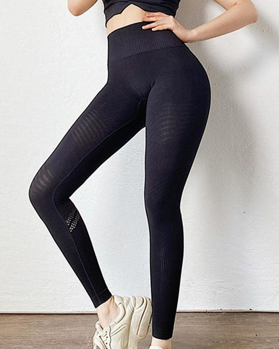 Hollow Out Wide Waistband Seamless Butt Lifting Sports Leggings gallery 5