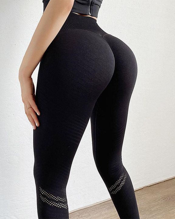 Hollow Out Wide Waistband Seamless Butt Lifting Sports Leggings gallery 1