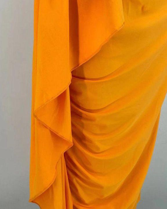 Solid Ruched Split Hem Ruffle Trim One Shoulder Maxi Dress gallery 11
