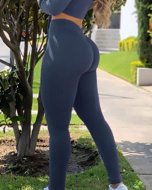 Ribbed Knit Butt Lifting High Waist Sports Leggings gallery 4