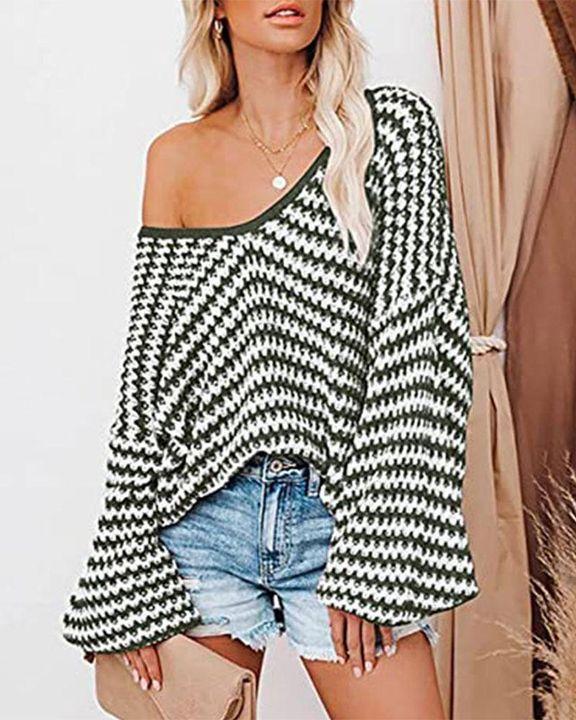 Striped Drop Shoulder Lantern Sleeve Sweater gallery 2