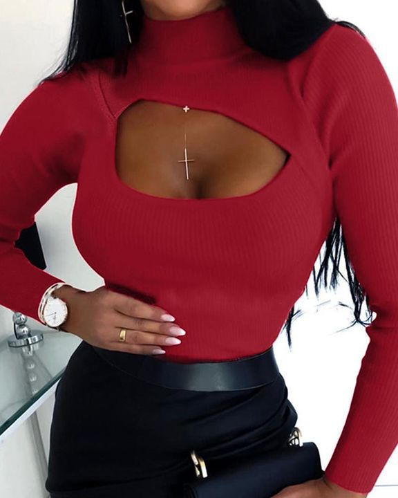 High Neck Cut Out Front Bodycon Sweater gallery 1