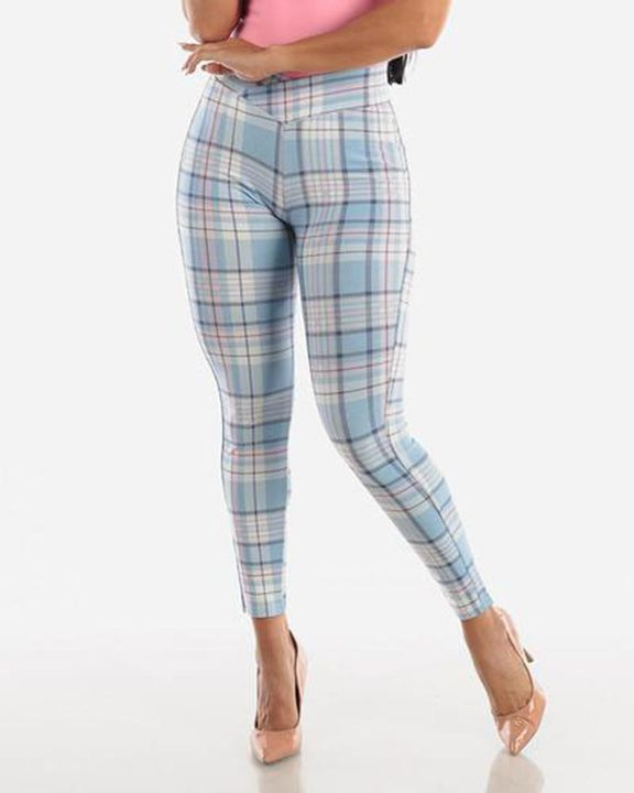 Plaid Print Wrap Waist Skinny Pants gallery 4