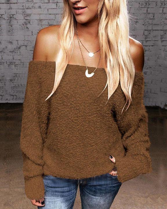 Popcorn Knit Off Shoulder Drop Shoulder Sweater gallery 3
