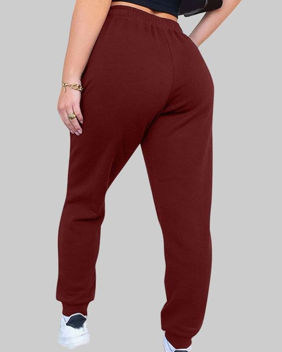 Drawstring Waist Thermal Lined High Waist Joggers gallery 8