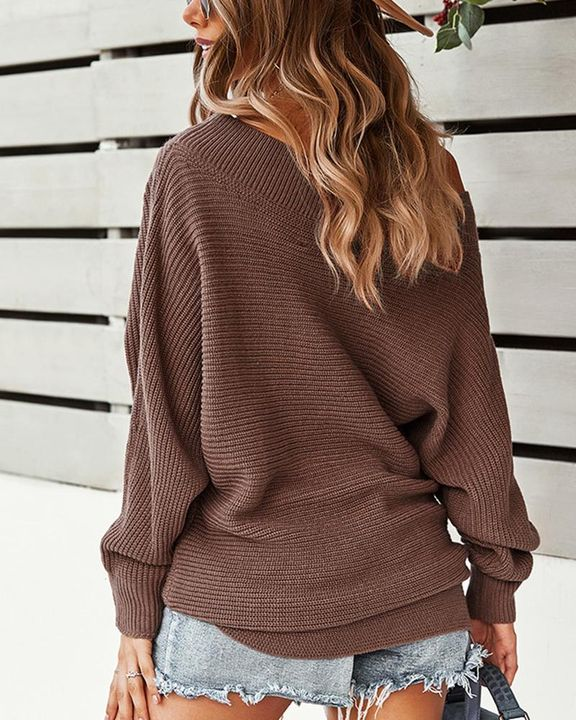 Solid Ribbed Knit Boat Neck Sweater gallery 9